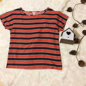 J.Crew Red, White, and Blue Striped Silk Blouse
